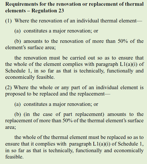 Building regulation 23 - renovation or replacement of thermal elements