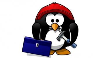 Cold weather working penguin with a toolbox