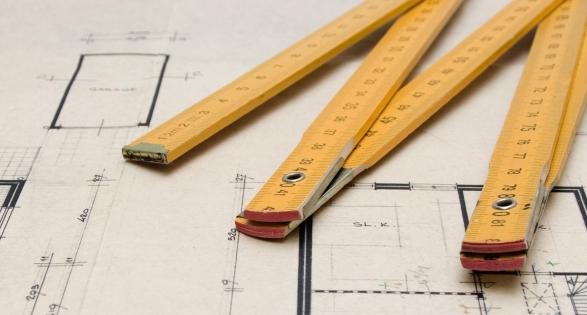 Photo of building plans - T level construction course